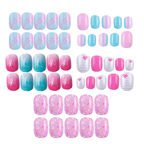 120 pcs 5 pack Children Nails Press on Pre-glue Full Cover Glitter Gradient Color Rainbow Short False Nail Kits Great Christmas Gift for Kids Little Girls - Multicolor Gradient Series