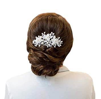 Beautiful Bridal Faux Pearl White Flower Hair Pin Clip Comb Hairpin US Seller