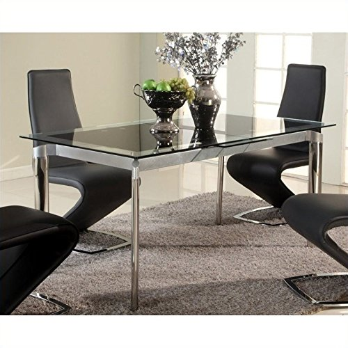 Pemberly Row Extendable Glass Dining Table in Chrome For Sale