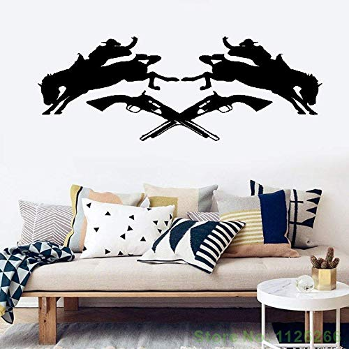 - Cexpial Quotes Wall Sticker Mural Decal Art Home Decor Texas Cowboy Rodeo Horse Revolver Silhouette