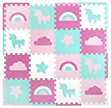 Tadpoles Soft Foam Playmat 16 Piece Set Unicorns & Rainbows, Pink, One-Size