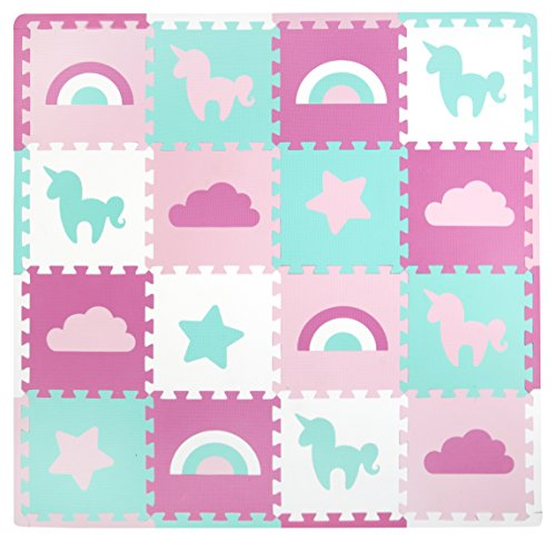 Tadpoles Baby Play Mat, Kid's Puzzle Exercise Play Mat - Soft EVA Foam Interlocking Floor Tiles, Cushioned Children's Play Mat, 16pc, Unicorns and Rainbows, Pink, 50x50