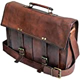 Leather Messenger Bags for Men and Women 15 Laptop Briefcase with Two Pocket Front