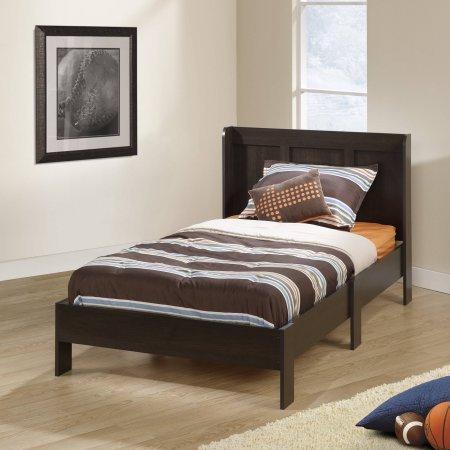 Engineered wood construction Espresso finish and Integrated headboard,Sauder Parklane Twin Platform Bed with Headboard, Espresso by Sauder