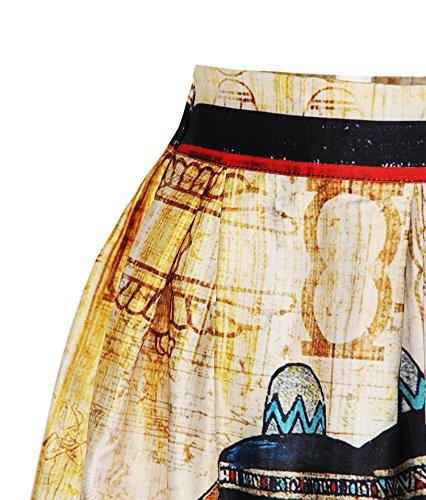 ZIOOER - Falda estilo casual con estampado digital y cinturilla elástica Faraón