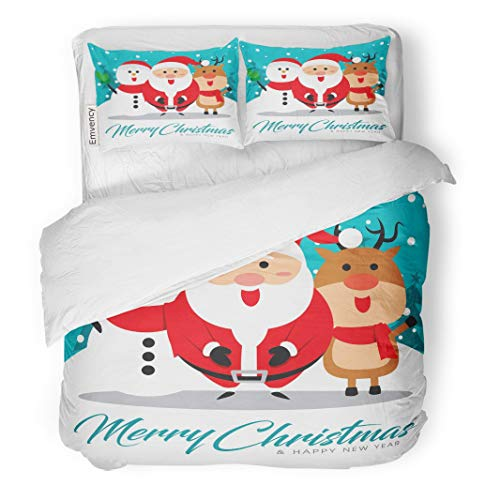 "Tarolo Bedding Duvet Cover Set Blue Animal Merry Christmas Companions Santa Claus Snowman and Reindeer Arm Cartoon 3 Piece Twin 68""x90"" Quilt Cover with Zipper Closure"