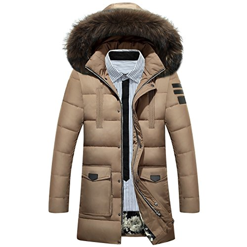 XL Khaki ZHUDJ Hommes's veste Veste Hiver Homme Hommes Down veste Chaud dans La Longue Section