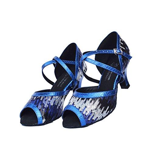 Bleu WYMNAME Womens High de Sociale Paillettes Chaussures Danse Moderne Heels Chaussures de Danse Chaussures Latine de Danse aafArdwxq
