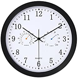 12 Inches Silent Non-ticking Indoor/Outdoor Multifunctional Wall Clock Battery Operated with Temperature & Humidity, Glass Cover,Black