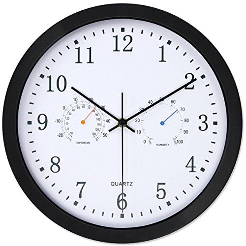 Analog Combo (Vonzevo 12' Silent Non-ticking Lagre Decorative Indoor/Outdoor Wall Clock with Temperature & Humidity, Decor for Living Room & Kitchen & Office, Glass Cover,Black)