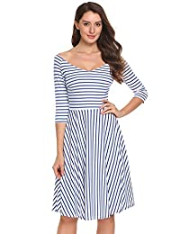 ACEVOG Pleated Striped 1960s Half Sleeve Vintage Pleated Swing Dress for Women
