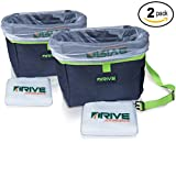 Automotive : Car Trash Can, Green (2-Pack) by Drive Auto Products - Best Garbage Bag for Litter, FREE Waste Basket Liners - Hanging Recycle Kit is Universal & Waterproof, Versatile Drink Cooler or Road Trip Bundle
