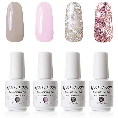 Gellen Gel Polish Set 4 Colors, Gentle Girl Series Dreamy Cute Colors Nail Art Gel Manicure Kit ()