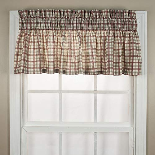 Ellis Curtain Bristol Collection Two-Tone Plaid Tailored Valance Window Curtain, Red