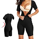 AOBRITON Women's Slimming Body Shapers,Sauna Suit Sexy Bodysuit Leg Waist Trainer Shapewear Zipper Plus Size for Weight Loss