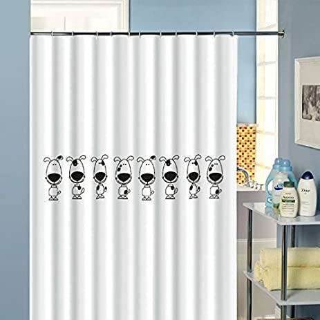 White Waterproof Washable Polyester Fabric GoosyPets Dog Shower Curtain  With Hooks   72u0026quot; ...