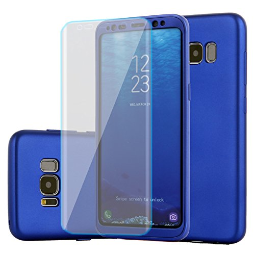 Samsung Galaxy s8 Plus case, Full Body Protection Hard Slim Premium Cover[Dual Layer][Slim Fit] with Tempered Glass Screen Protector for Samsung Galaxy s8 Plus (Blue)