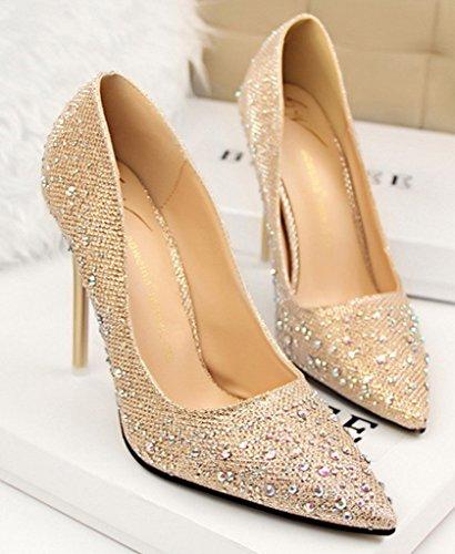 Minetom Mujer Primavera Dulce Boda Zapatos de Tacón Elegante Brillante Rhinestone Zapatos Tacón Alto Zapatos Pumps Stiletto Dorado