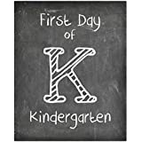 Simply Remarkable First Day of School Print, Kindergarten Reusable Chalkboard Photo Prop for Kids Back to School Sign for Photos, Frame Not Included (8x10, Kindergarten - Style 1)