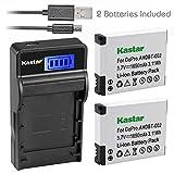 Kastar Battery (X2) & SLIM LCD Charger for GoPro AHDBT-001 - AHDBT-002 work with GoPro HD HERO1 - HERO2 - GoPro Original HD HERO Cameras
