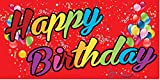 Pre-Printed Happy Birthday Banner - Rainbow - Red (10' x 5')