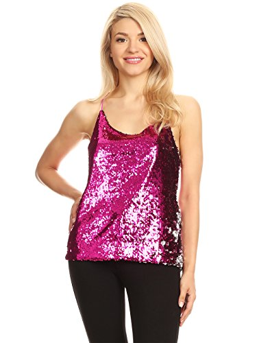 Anna-Kaci Womens All Over Shiny Sequin Spaghetti Strap Vest Tank Top, Fuschia, X-Large (Anniversary Glitter)