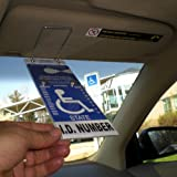 JL Safety Visortag® Vertical Mount - The Ideal Way to Protect, Display & Swing Away a Handicap Parking Placard. Best Handicapped Placard Cover and Protector on the Market. Don't Settle for a Cheap and Thin Handicap Tag Holder, Get a Visortag That Comes with an 85 Mils Thick Holder and 100% Satisfaction Guaranteed. Patented & Proudly Made in Usa.