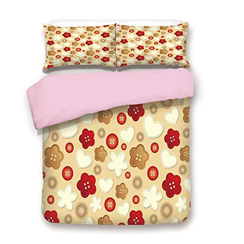 Pink Duvet Cover Set,Twin Size,Cute Illustration of Hearts Buttons and Flowers Feminine Playful Modern Art Deco Decorative,Decorative 3 Piece Bedding Set with 2 Pillow Sham,Best Gift For Girls Women,B
