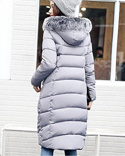 Grande Cotone Di Caldo Cappotto Colletto Piumino Cappotto Cappuccio Donne Lunga Grigio Parka YXF4S0w