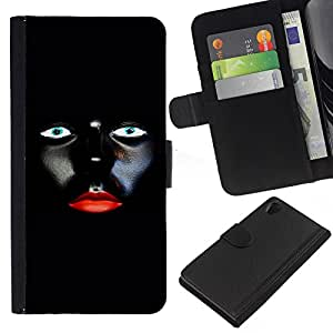 WINCASE (No Para Z2 Compact) Cuadro Funda Voltear Cuero Ranura Tarjetas TPU Carcasas Protectora Cover Case Para Sony Xperia Z2 D6502 - mujer labios rojos del diseño del arte minimalista