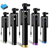 Selfie Stick Portable Black + OTG Adaptor Compatible for all Android Phones by MYSTIQUE MALL