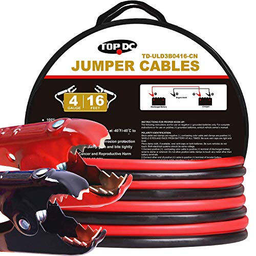 - TOPDC 100% Copper Jumper Cables 4 Gauge 16 Feet 380AMP Heavy Duty Booster Cables with Carry Bag and Safety Gloves (4AWG x 16Ft)