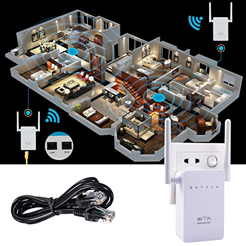 Wifi Repeater, AC300 Range Extender Signal Booster with Repeater/Router/AP WPS Long