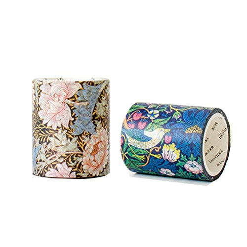 Vintage Famous painting Recollections Dark Bird Floral Washi Tape - Set of 2 Rolls - Decorative DIY Japanese Masking Scrapbook Bujo Notebook Sticky Paper Wide Washi Tape Set (width:50mm)