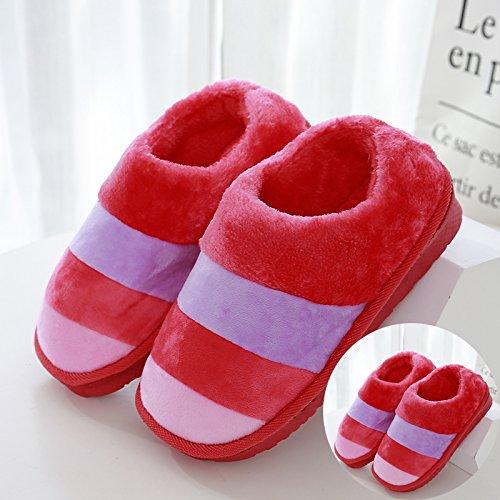 LaxBaAbsorption de choc mou et perméable à lintérieur dhiver Chambre pantoufles pour hommes et femmes 2 paires de Red 42-43