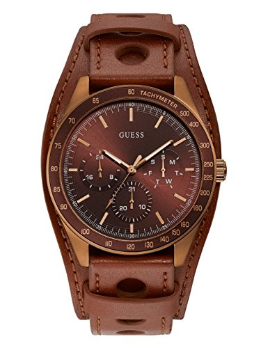 GUESS Men's Stainless Steel Japanese-Quartz Watch with Leather Strap, Brown, 46.6 (Model: U1100G3)