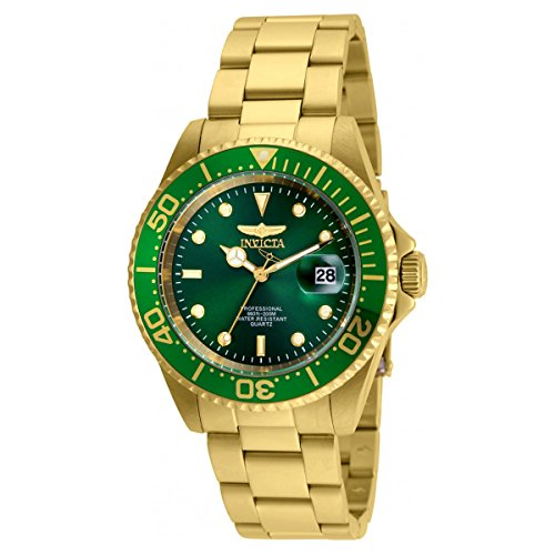 Invicta Gold Bracelets (Invicta 24948 Men's Pro Diver Green Dial Yellow Gold Steel Bracelet Quartz Dive Watch)