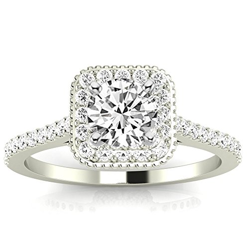1.08 Cttw 14K White Gold Round Cut Stunning Vintage Halo Style Diamond Engagement Ring With Milgrain with a 0.73 Carat J-K Color I1 Clarity Center by Chandni Jewels
