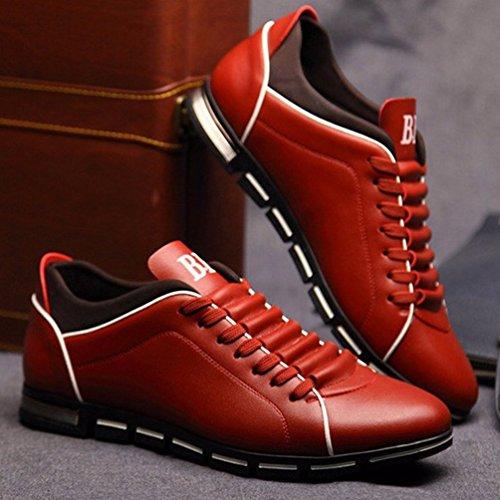 Mens Moda Zapatos Cuero Rojo Transpirable Casual Flats Zapatos Barco rxrq4H7R