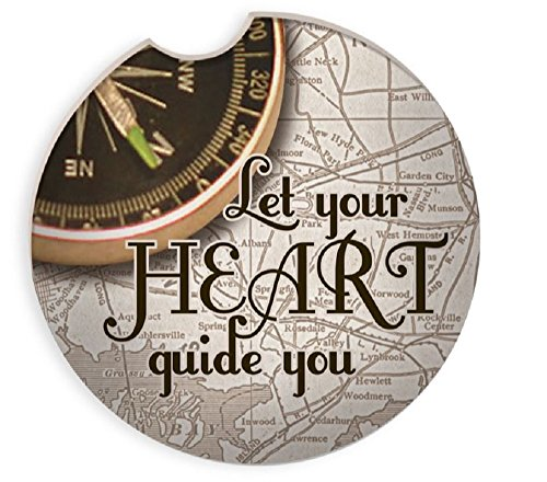 Set of 2 Let Your Heart Guide You- Aunt Birdie Auto Coaster 2 3/4
