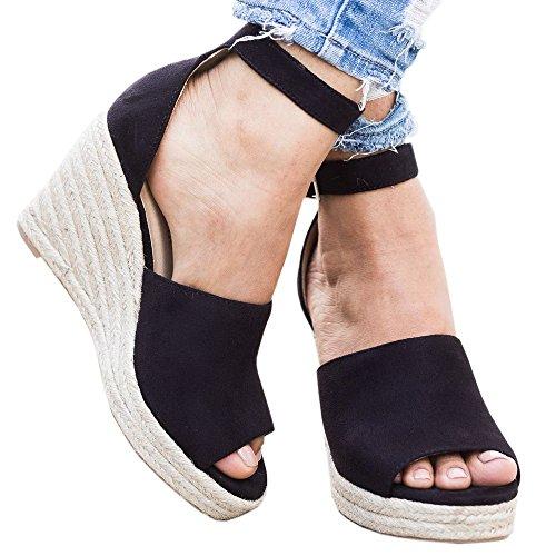 Wedges Shoes for Women Espadrilles High Heels Ankle Strap Open Peep Toe Summer Sandals