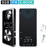 MYMAHDI 8GB Portable MP3 Player(Expandable Up to 128GB), Music Player/One-Key Voice Recorder/FM Radio 70 Hours Playback with External Speaker HD Headphone, Black