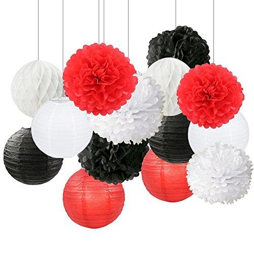 ty Decoration Black White Red Tissue Paper Pom Pom Paper Flower Ball Decoration Paper Lantern Tissue Ball Paper Decoration for Baby Shower Nursery Decor ()