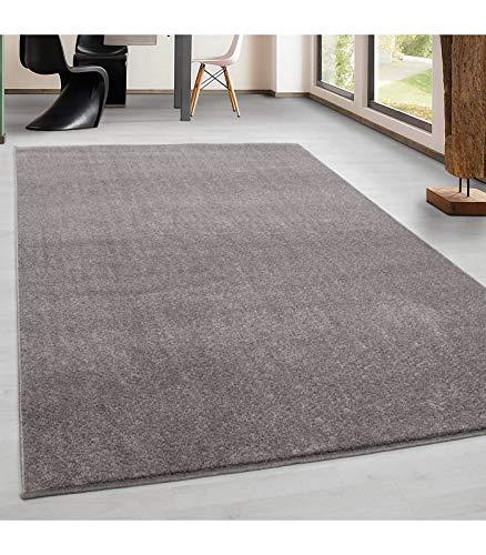 Teppich Kurzflor Modern Wohnzimmer Einfarbig Meliert Uni günstig Versch.  Farben - Beige, 60x100 cm