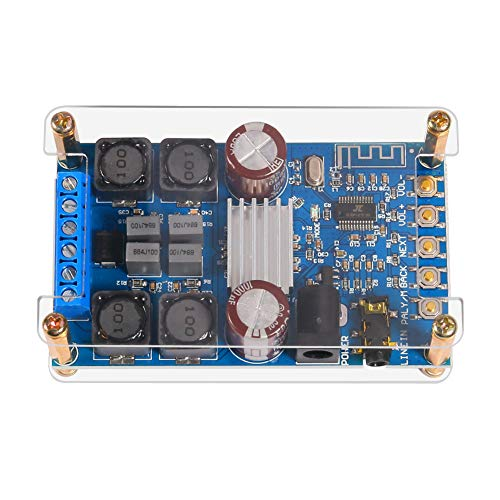 Bluetooth Amplifier Module, Dual Channel Digital Power Audio Stereo with Wireless BT 4.1 AMP Module 250W(Left, Right) for Audio System DIY Headphone Speakers, DC 4.5~27V with Protective Acrylic Shell