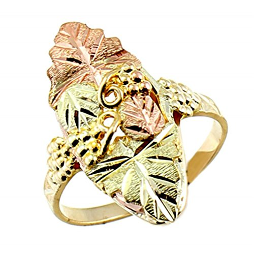 Engraved Leaves with Grapes Ring, 10k Yellow Gold, 12k Green and Rose Gold Black Hills Gold Motif, Size 8