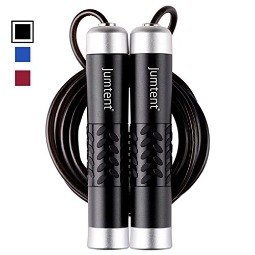 Jumtent Jump Rope with Adjustable Speed Cable & Aluminum Handles - Skipping Rope for Fitness Workouts, Jumping Exercise, Skipping and Boxing (Black) - Quick Adjust Weight System