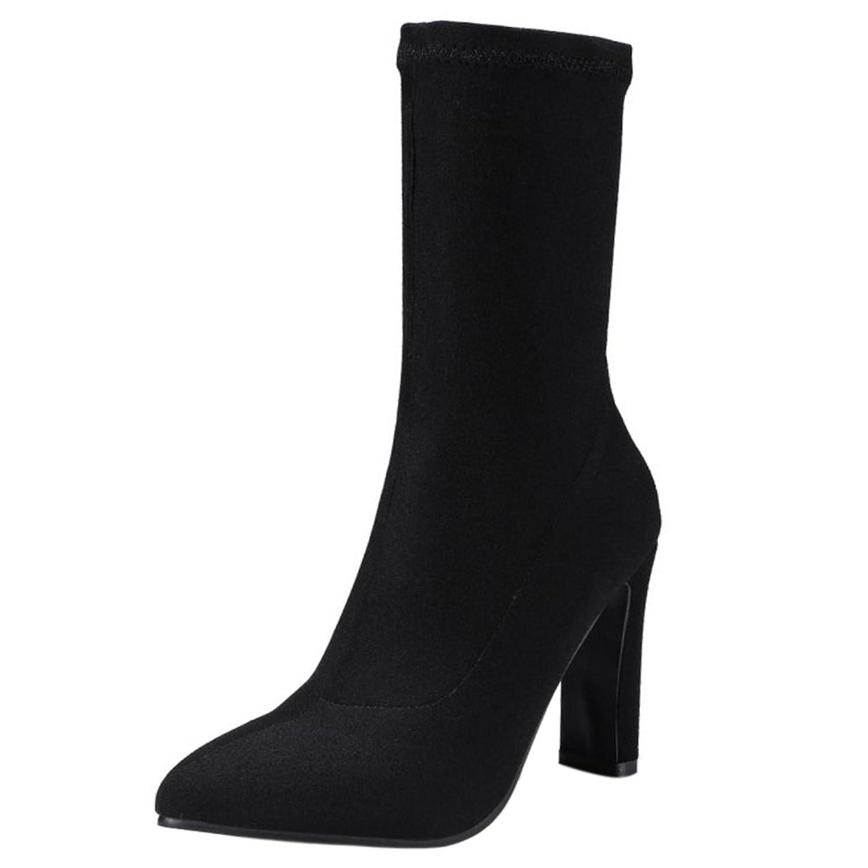 COOLCEPT Damen Mode Hohe Ferse Dress Stiefel Slip-on Herbst Stretch Knochel Black