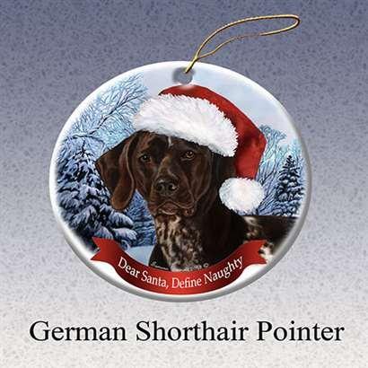 Pet Gifts USA German Shorthaired Dog Santa Hat Christmas Ornament Porcelain China U.s.a. - German Pointer Shorthaired Ornament Christmas