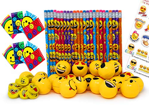 Emoji Party Favors Set for Kids, 24 Pencils 24 Erasers 24 Yellow Sharpeners 24 Notebooks and 2 Sheets Stickers, Bulk Prizes Pack for Birthday Parties and Goody Bag Fillers, By 4E's Novelty